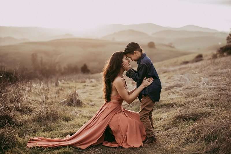 Sonoma Family Photography, mother and son sitting forehead to forehead