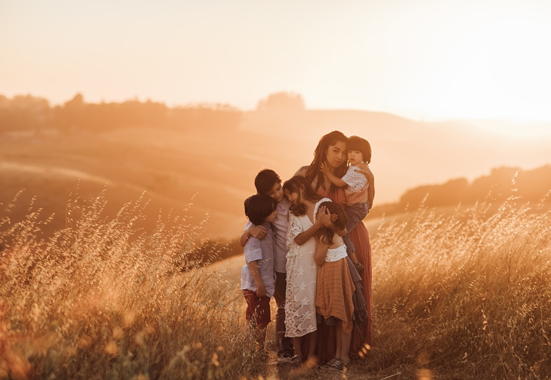 Sonoma Family Photography, mother standing in field with her 5 children