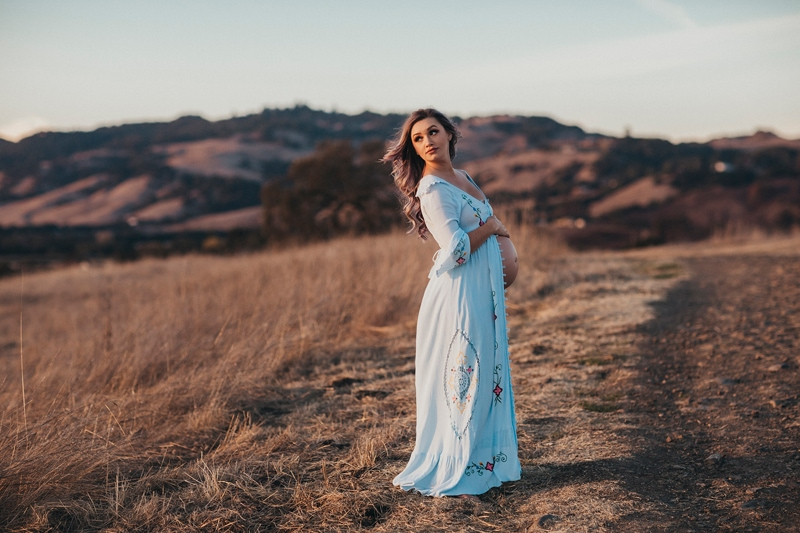 Sonoma Family Photography, pregnant woman standing on dirt road