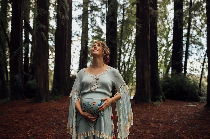Sonoma Family Photography, pregnant woman looking up in a forest