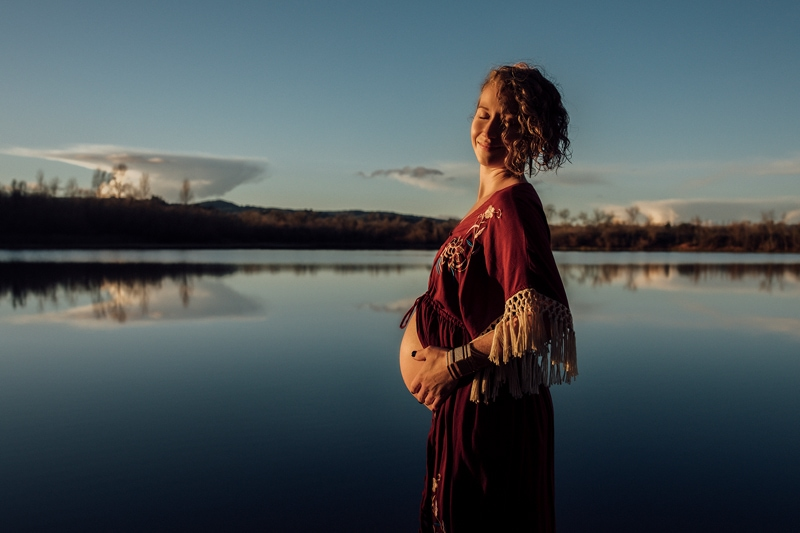 Sonoma Family Photography, pregnant woman standing next to a lake