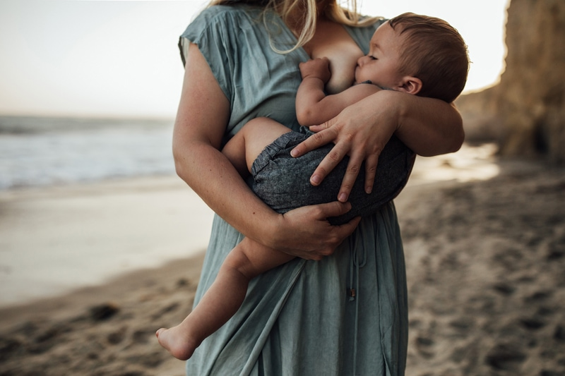 Sonoma Family Photography, baby breastfeeding at the beach