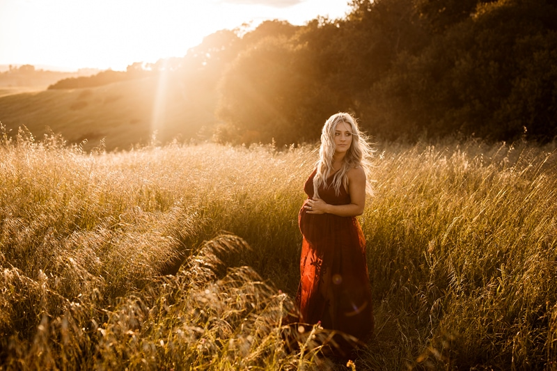 Sonoma Family Photography, mother standing in field with sunset