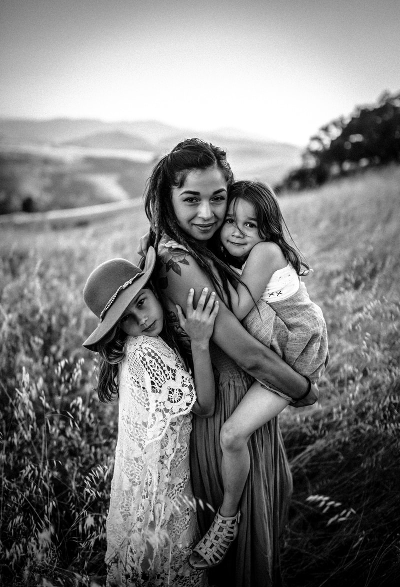 Sonoma Family Photography, black and white of mother with two daughters