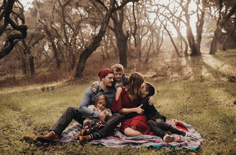 Sonoma Family Photography, family of five sitting together on a blanket