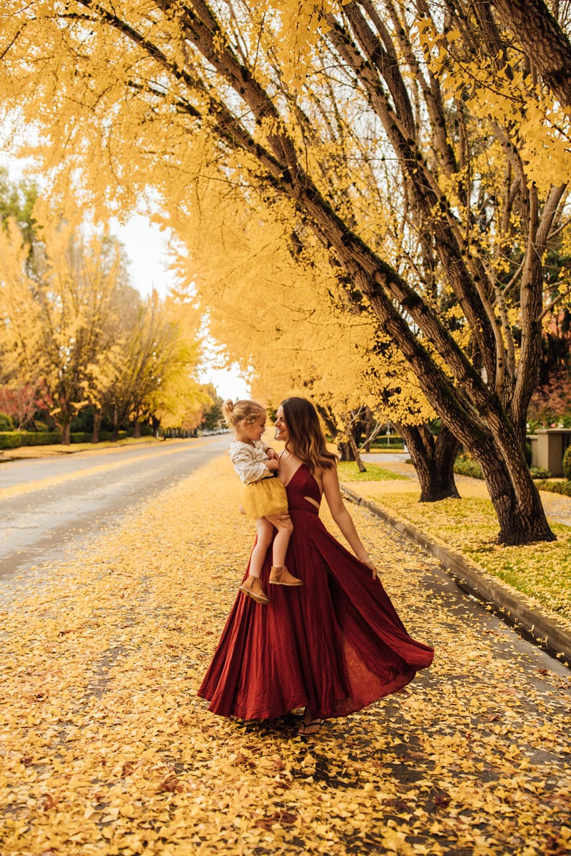 Sonoma Family Photography, mother and daughter under yellow leaves