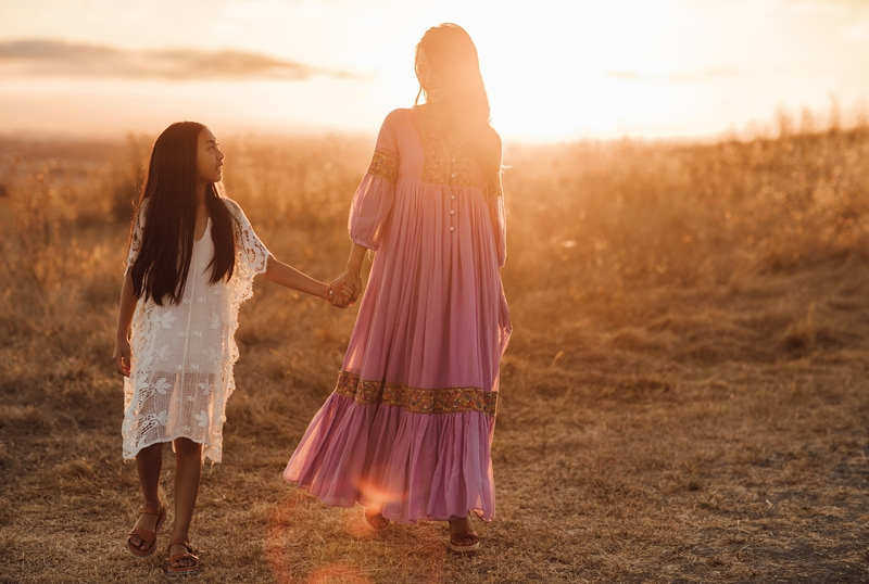 Sonoma Family Photography, mother and daughter walking with sunset