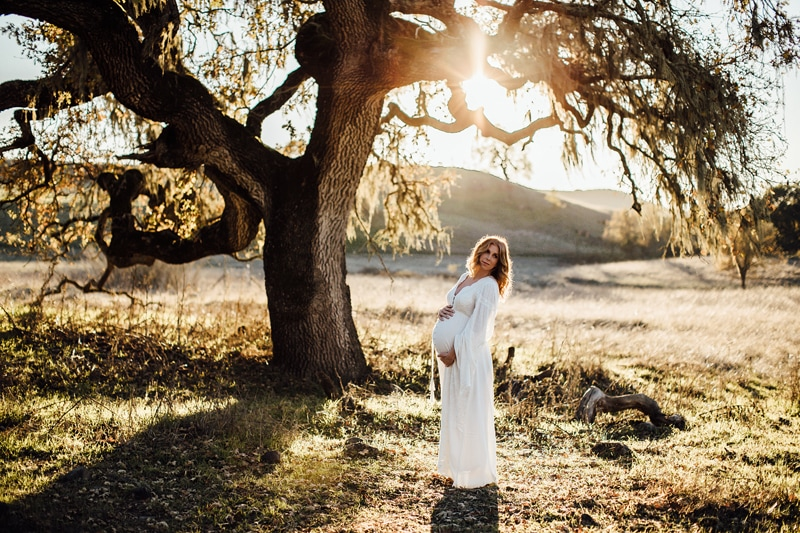Sonoma Family Photography, pregnant woman in white dress standing under a large tree
