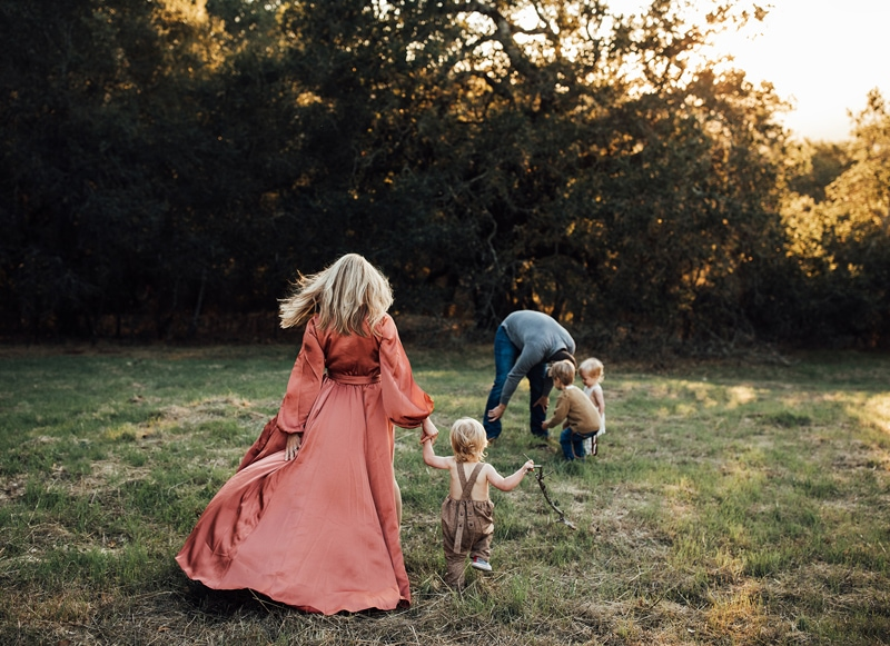 Sonoma Family Photography, family of five playing in the grass
