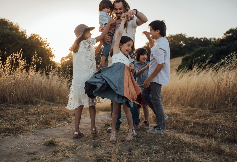 Sonoma Family Photography, father standing in field with 5 children
