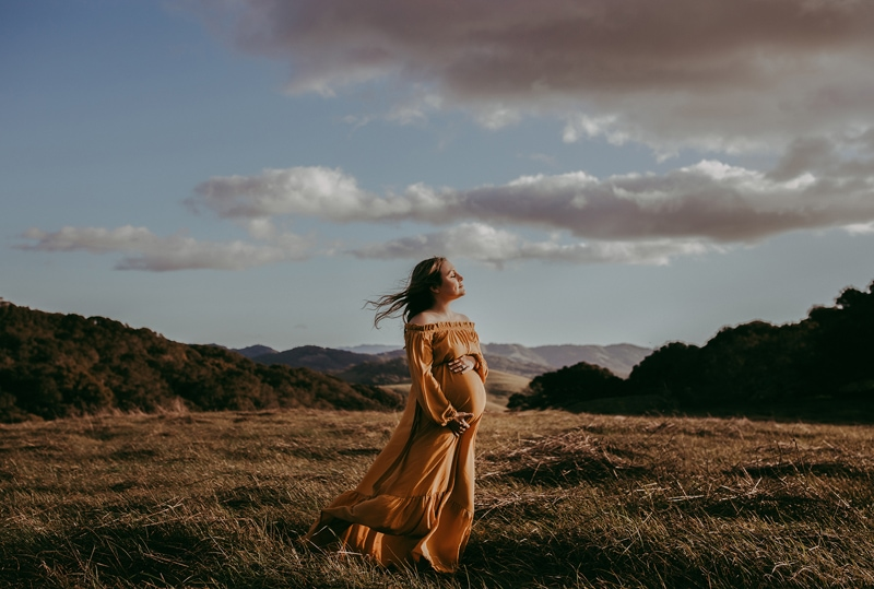 Sonoma Family Photography, pregnant woman in yellow flowy dress
