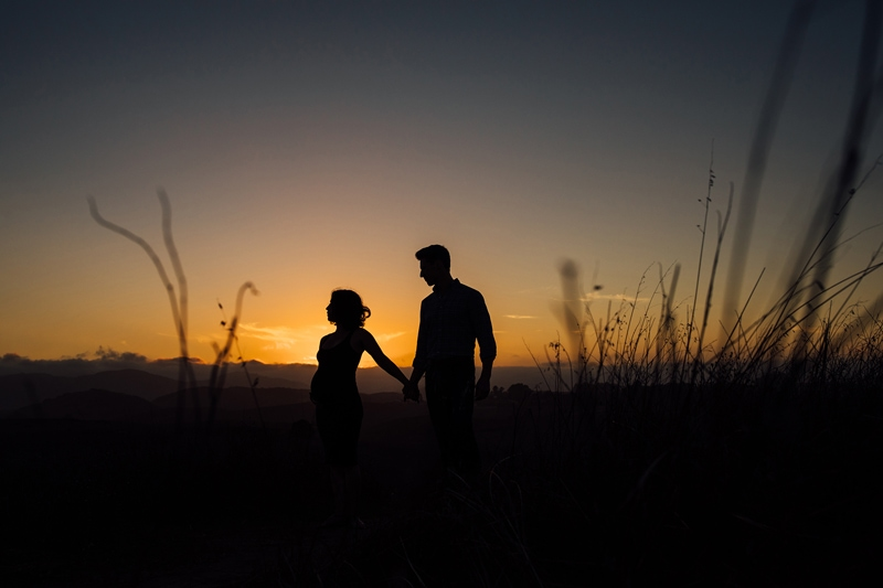 Sonoma Family Photography, couple outlined by sunset