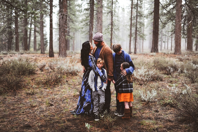 Sonoma Family Photography, Jodi and her family standing in the woods
